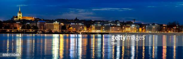 Panorama of Geneva at Dusk, Lake Geneva, Switzerland