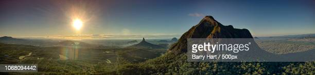 panorama of glass house mountains - glass house mountains stock pictures, royalty-free photos & images