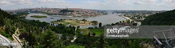 panorama of golden horn bay from pierre loti - emreturanphoto stock pictures, royalty-free photos & images