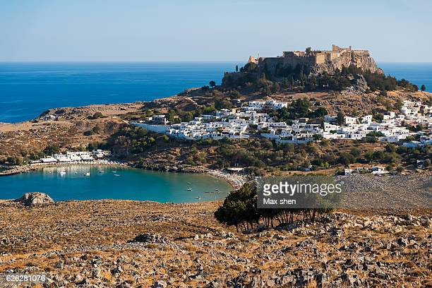 Panorama of greek town Lindos in Rhodes island