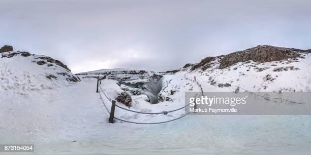 Panorama de la cascada de Gullfoss en Islandia