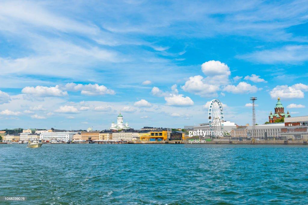 Panorama of Helsinki from sea : Stock Photo
