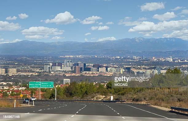 Panorama of highway and city of Orange County, California
