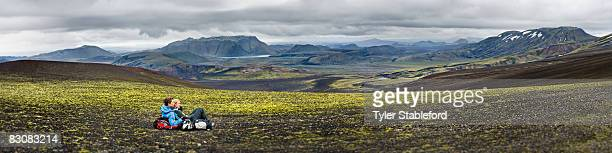 Panorama of hikers in Iceland.