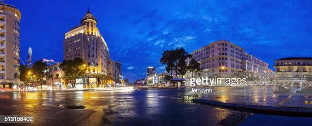 Panorama of Ho Chi Minh City downtown with luxury hotels and trading center