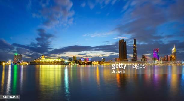 Panorama of Ho Chi Minh City riverside Thu Thiem at night