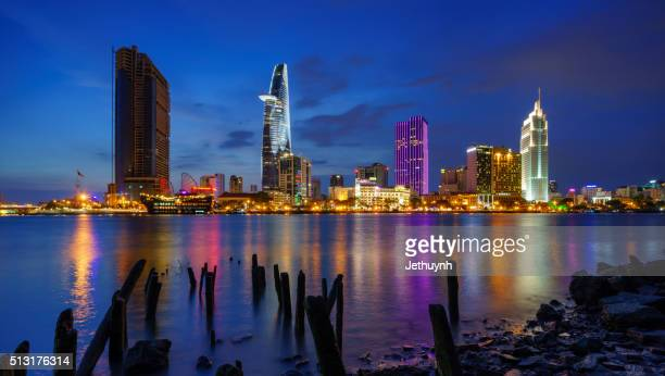 Panorama of Ho Chi Minh City riverside Thu Thiem