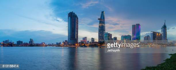 Panorama of Ho Chi Minh City riverside Thu Thiem with old and new buildings
