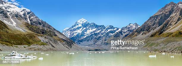 Panorama of Hooker Glacier Lake with Aoraki Mt. Cook in the Background
