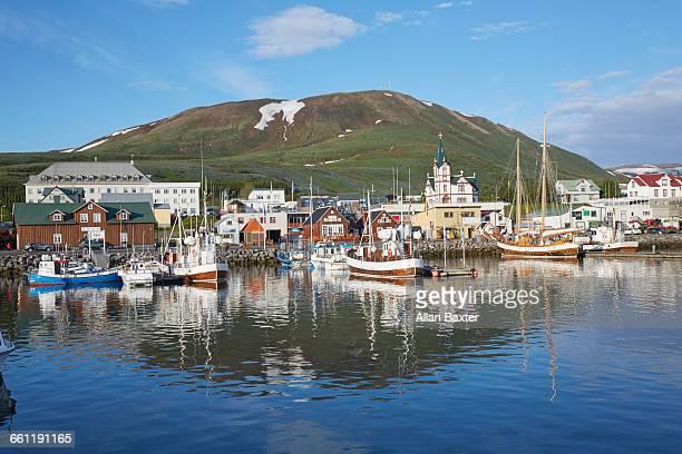 Panorama of Husavik harbour in Iceland