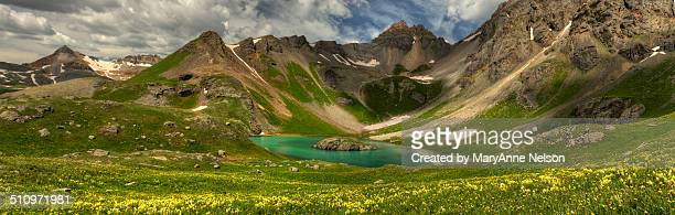 panorama of island lake - mary lake stock photos and pictures