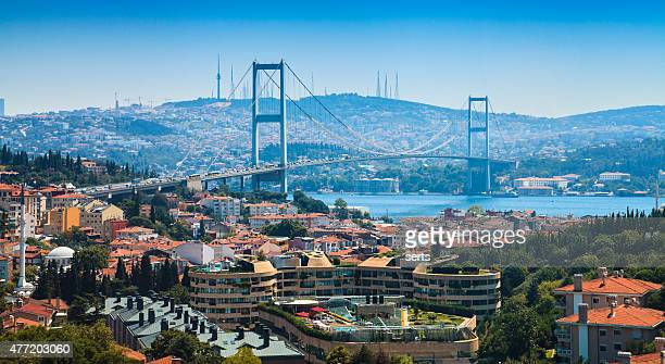 panorama of istanbul city view and bosphorus bridge - istanbul stock pictures, royalty-free photos & images