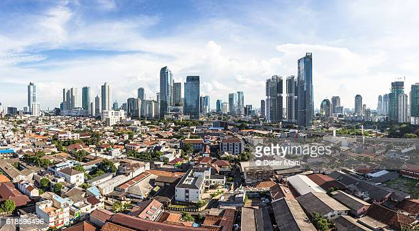 Panorama of Jakarta skyline in Indonesia capital city.