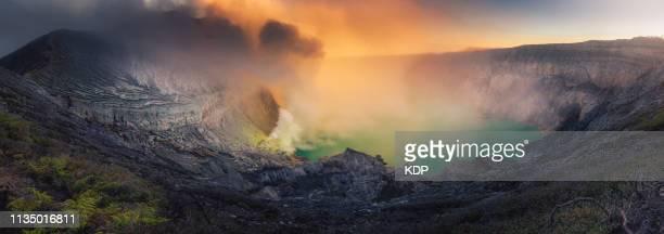 Panorama of Kawah Ijen Crater, Indonesia at Sunrise, Natural Landscape