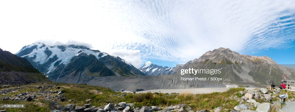 Panorama of Kea Point, Mt. Cook New Zealand : Stock-Foto