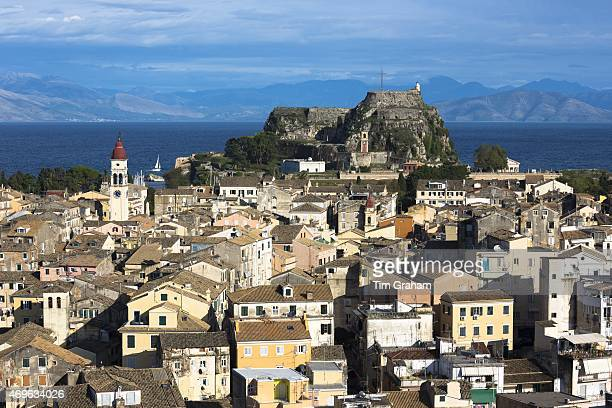 Panorama of Kerkyra Corfu Town with Old Fort The Paleo Frourio in Corfu Greece