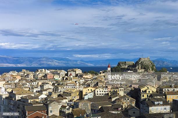 Panorama of Kerkyra Corfu Town with Old Fort The Paleo Frourio in Corfu Ionian Islands Greece