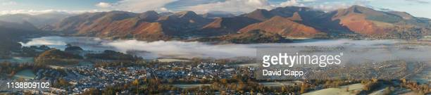 panorama of keswick and derwent in the lake district - keswick stock pictures, royalty-free photos & images