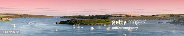 panorama of kinsale harbor ireland - cork city stock pictures, royalty-free photos & images