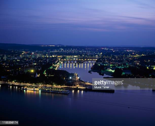 aerial night view german town koblenz
