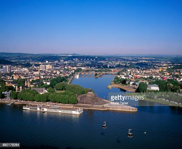 Panorama of Koblenz where the Rhine and Moselle Rivers meet