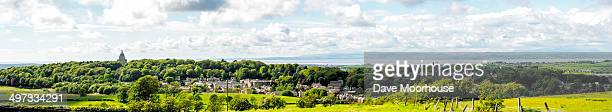 panorama of lancaster & morecambe bay - lancashire stock pictures, royalty-free photos & images