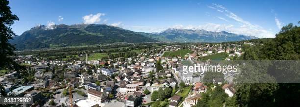 panorama of liechtenstein, vaduz city - vaduz stock pictures, royalty-free photos & images