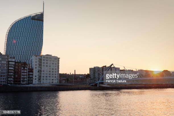 panorama of liege at sunset - liege stock pictures, royalty-free photos & images