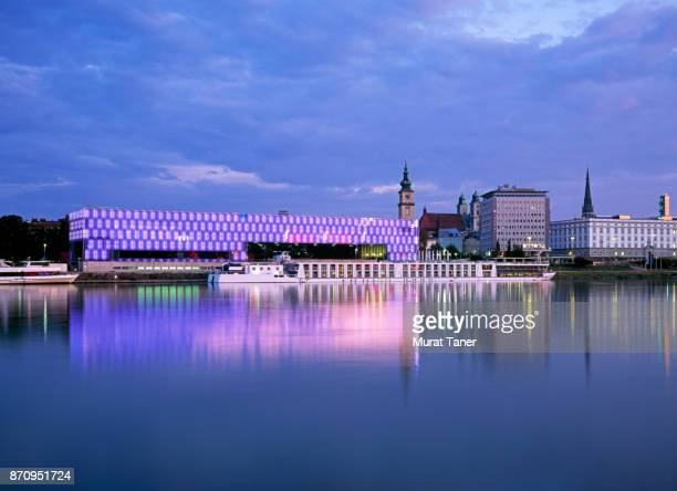Panorama of Linz and the Danube River at dusk
