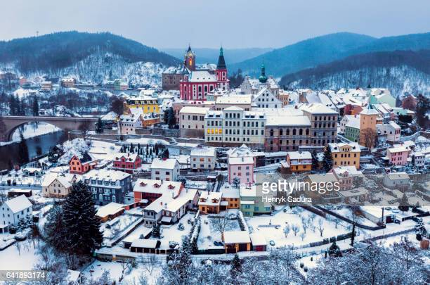 panorama of loket - bohemia czech republic stock pictures, royalty-free photos & images