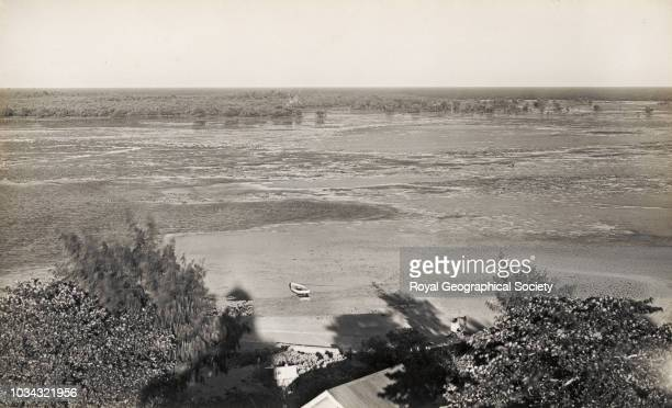 Panorama of Low Isles Reef seen from lighthouse balcony, Queensland, Australia, circa 1928.