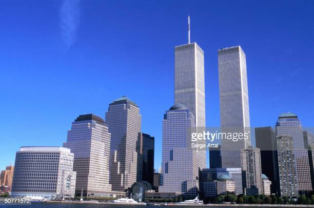 Panorama of lower Manhattan, w. World Trade Center's Twin Towers.