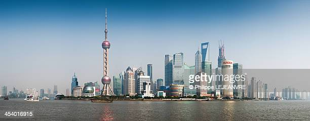Panorama of Lujiazui in the haze, the business suburb of Shanghai, China with many skysrapers