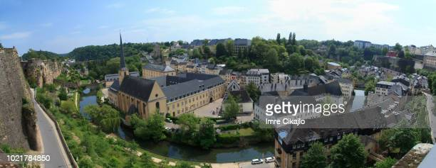 panorama of luxembourg's old town - luxembourg city luxembourg stock pictures, royalty-free photos & images