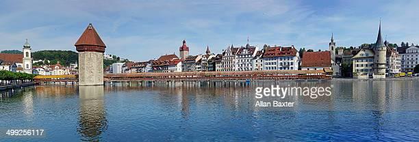 Panorama of Luzern on River Reuss shoreline