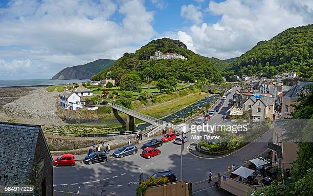 panorama of lynmouth under blue sky - exmoor stock pictures, royalty-free photos & images