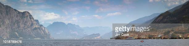 panorama of malcesine lake garda italy - malcesine stock pictures, royalty-free photos & images