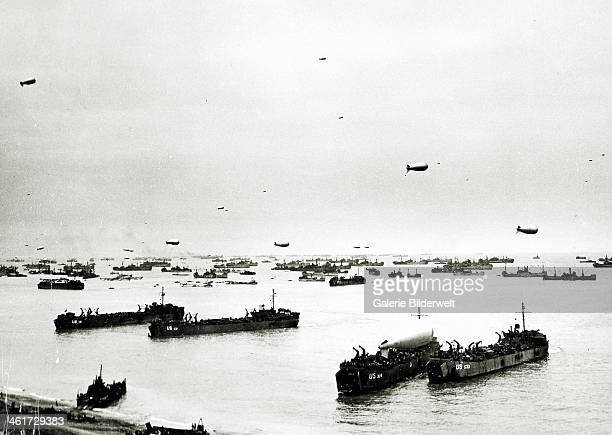 Panorama of many ships which supply the American bridgehead 10th June 1944There are many barrage balloons in the skyOmaha Beach Normandy France