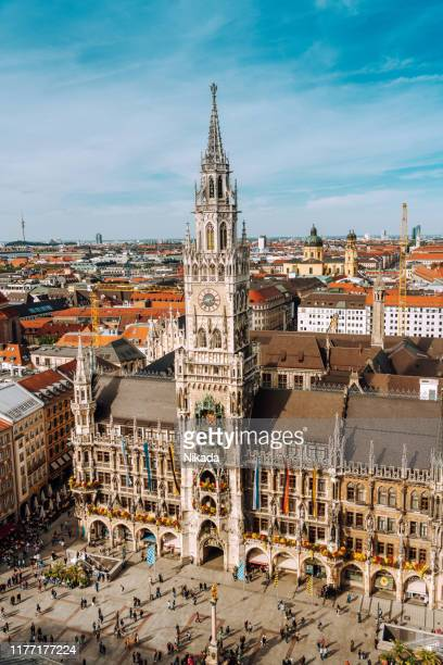 panorama of marienplatz square with new town hall - new town hall munich stock pictures, royalty-free photos & images