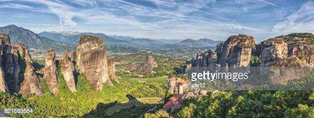 panorama of meteora - thessaly stock pictures, royalty-free photos & images