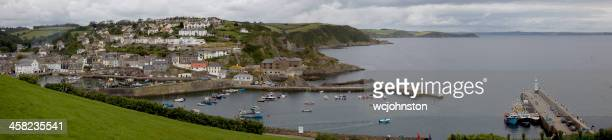 panorama of mevagissey cornwall - mevagissey stock photos and pictures