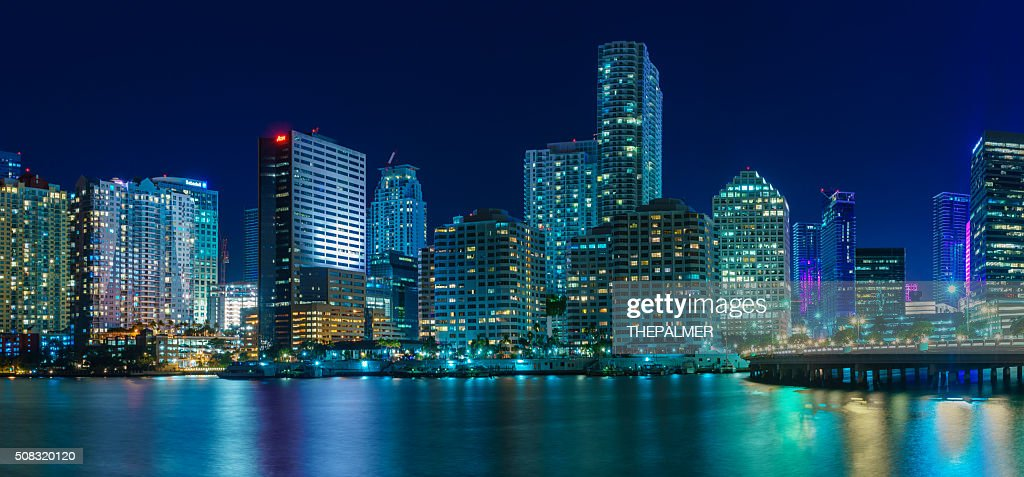Panorama of Miami at night : Stock Photo