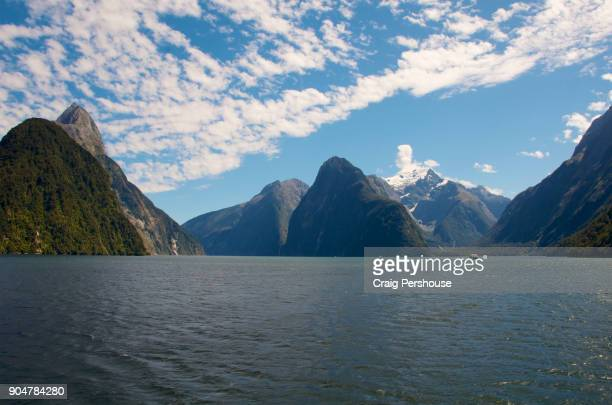 Panorama of Milford Sound, with Mitre Peak on the left.