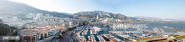 panorama of monaco - monte carlo stock-fotos und bilder