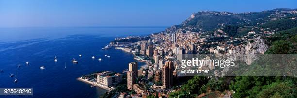 panorama of monte carlo in monaco - monaco stock-fotos und bilder