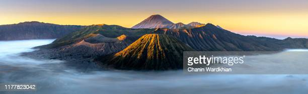 panorama of morning scene at mt.bromo - mt bromo stock pictures, royalty-free photos & images