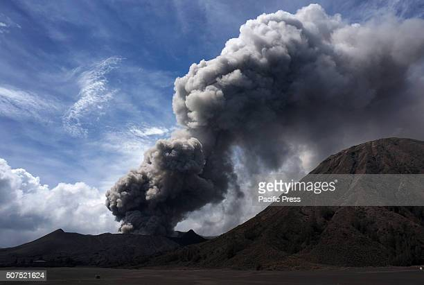 Panorama of Mount Bromo's smoke and volcanic material, taken from Tosari district, Pasuruan, East Java. The activity of Mount Bromo in the last 24...