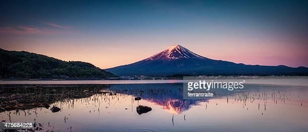 Panorama of Mount Fuji at Sunrise in Japan