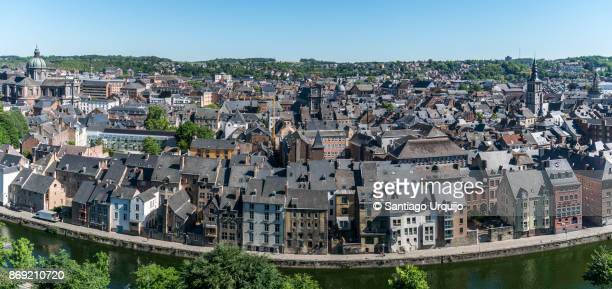 panorama of namur city alongside the meuse river from the citadel - ナミュール州 ストックフォトと画像