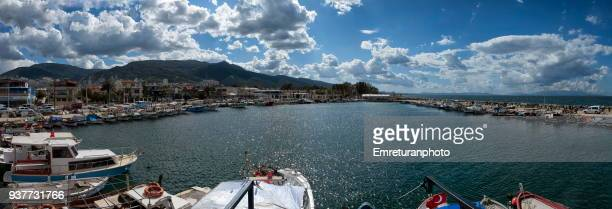 panorama of narlidere marina on a cloudy day,izmir. - emreturanphoto stock pictures, royalty-free photos & images